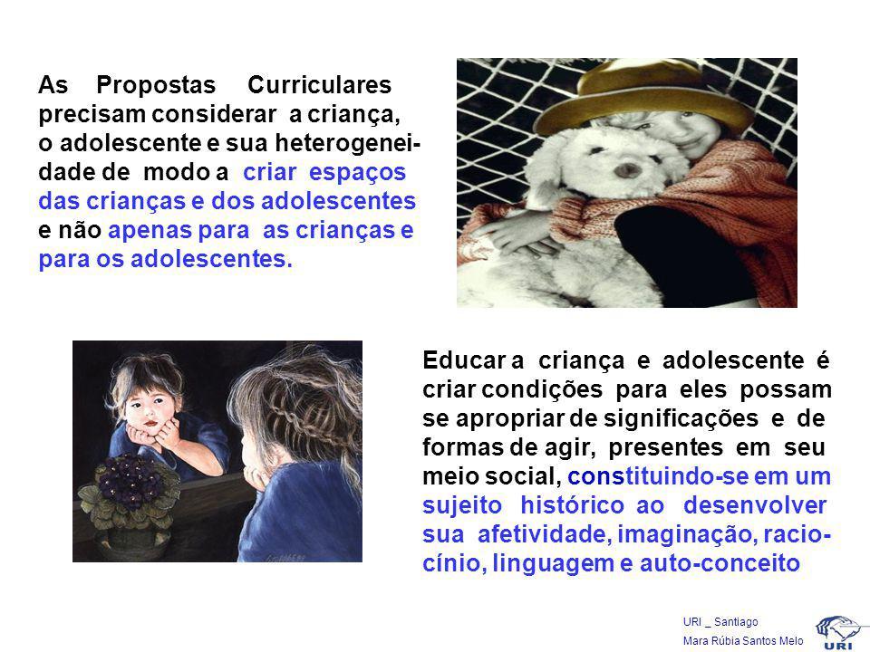 As Propostas Curriculares precisam considerar a criança, o adolescente e sua heterogenei-dade de modo a criar espaços das crianças e dos adolescentes e não apenas para as crianças e para os adolescentes.