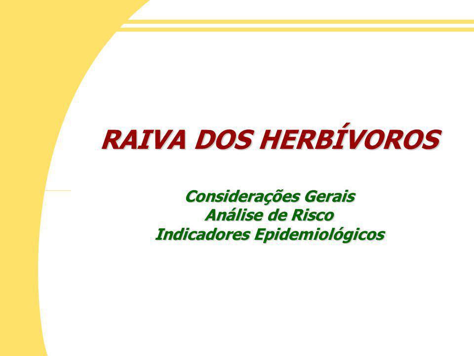 RAIVA DOS HERBÍVOROS Considerações Gerais Análise de Risco Indicadores Epidemiológicos
