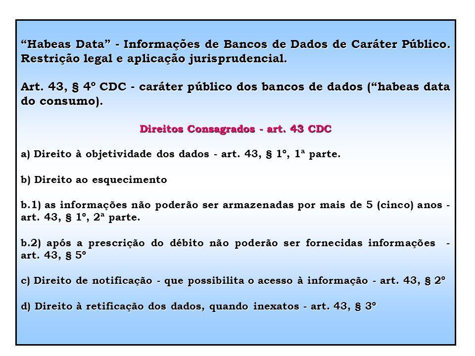 Direitos Consagrados - art. 43 CDC