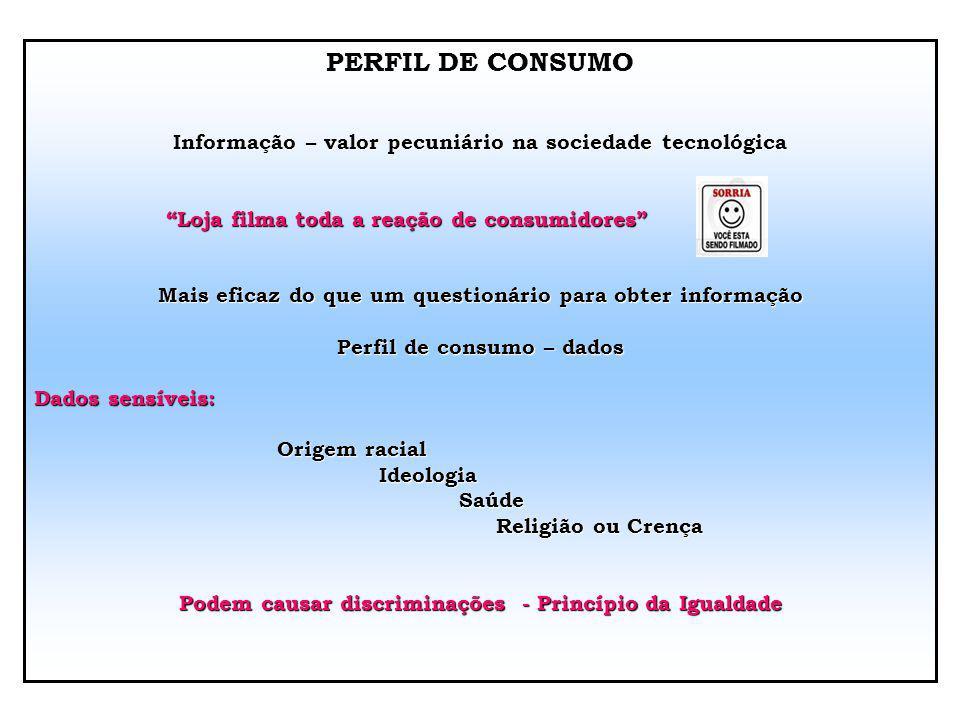 PERFIL DE CONSUMO Informação – valor pecuniário na sociedade tecnológica. Loja filma toda a reação de consumidores