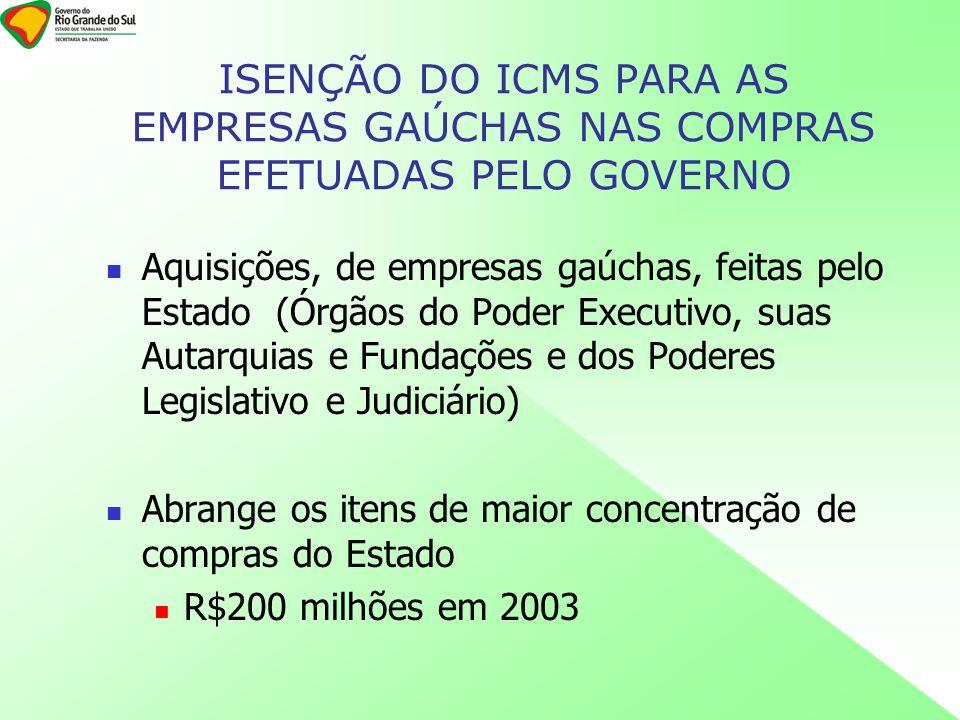 ISENÇÃO DO ICMS PARA AS EMPRESAS GAÚCHAS NAS COMPRAS EFETUADAS PELO GOVERNO