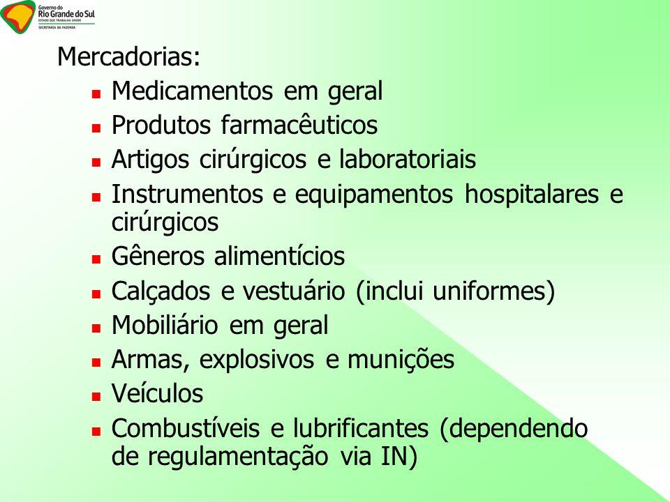 Mercadorias: Medicamentos em geral. Produtos farmacêuticos. Artigos cirúrgicos e laboratoriais.