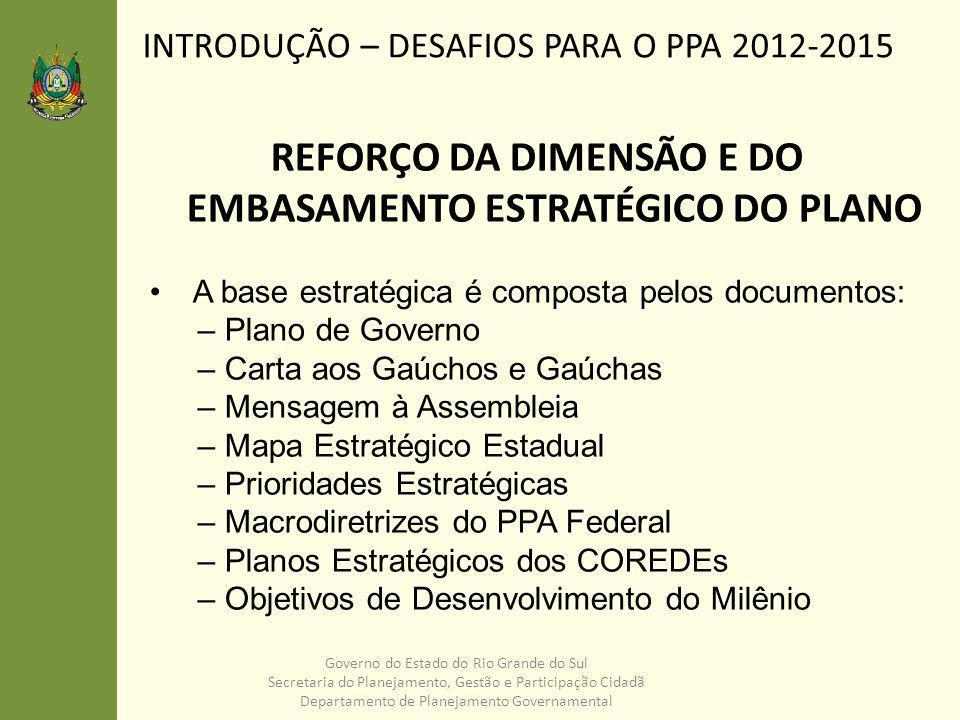 INTRODUÇÃO – DESAFIOS PARA O PPA 2012-2015