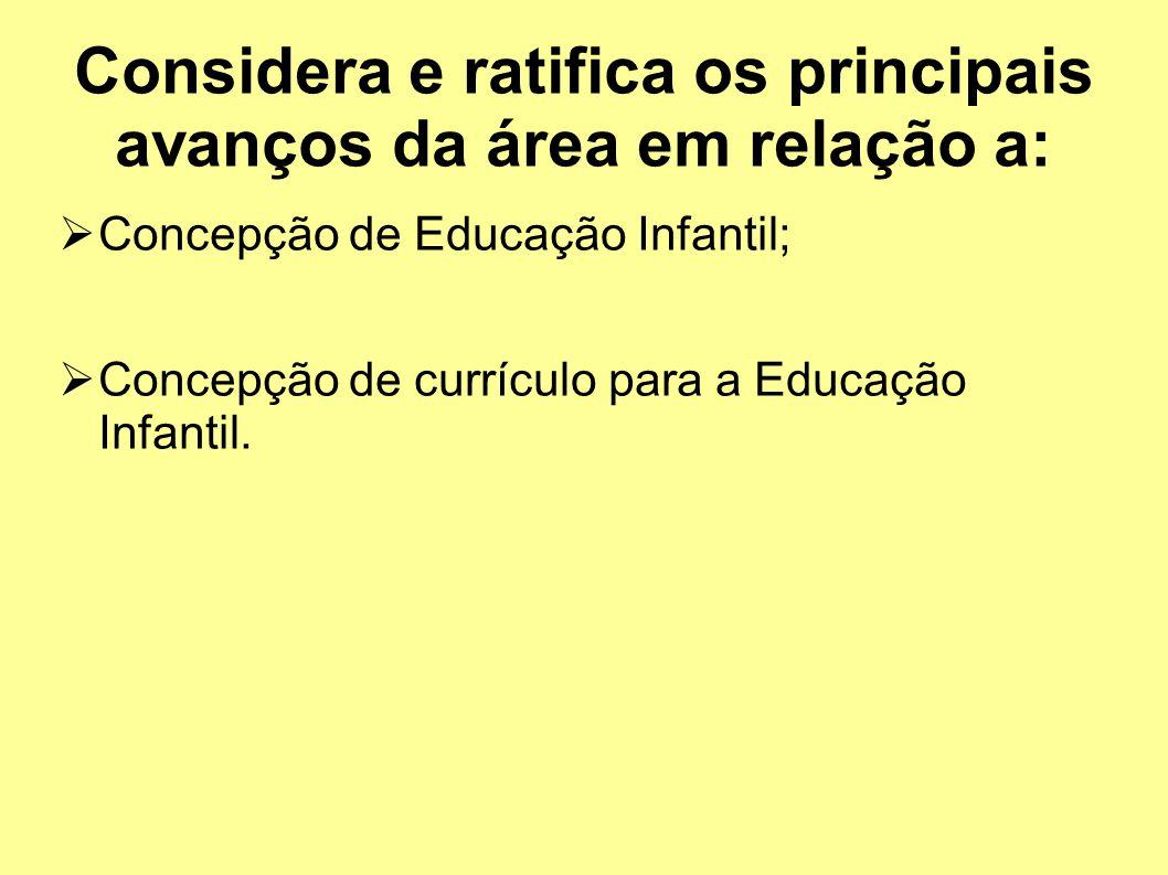 Considera e ratifica os principais avanços da área em relação a: