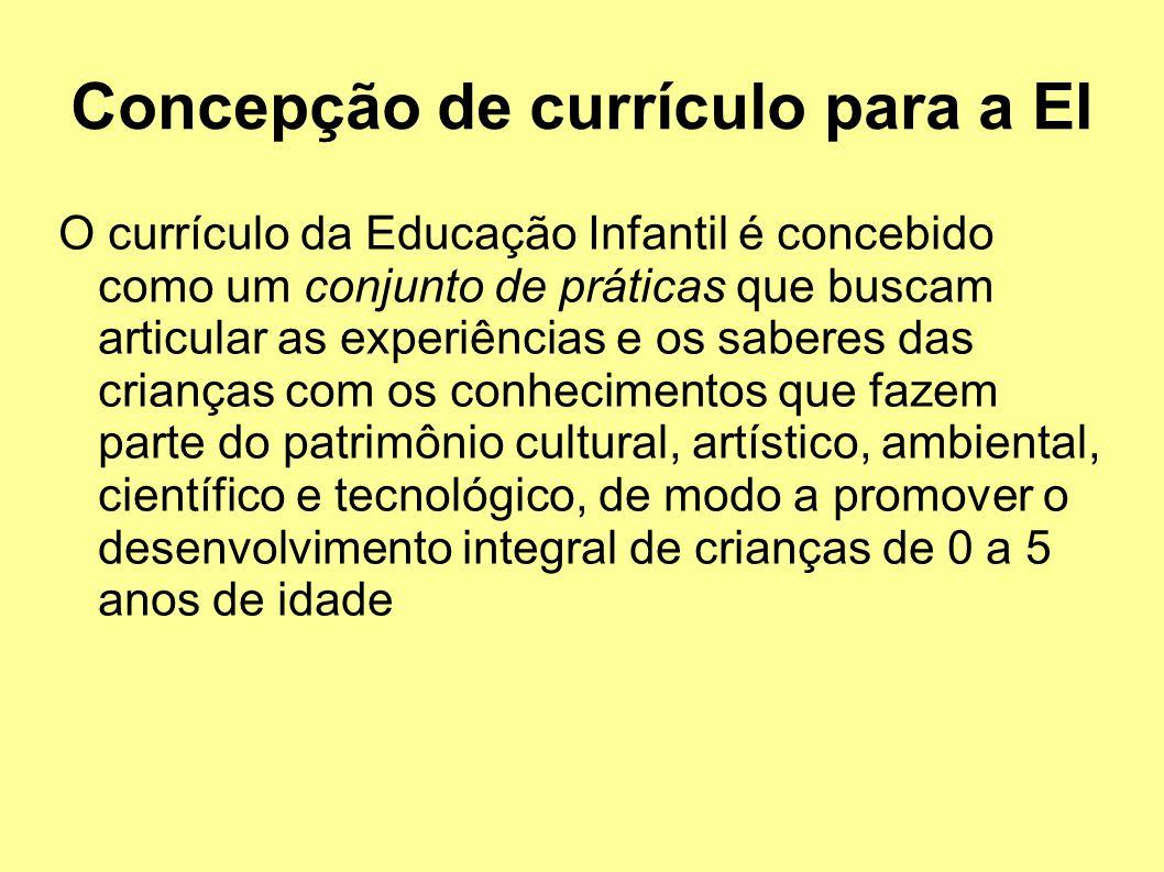 Concepção de currículo para a EI