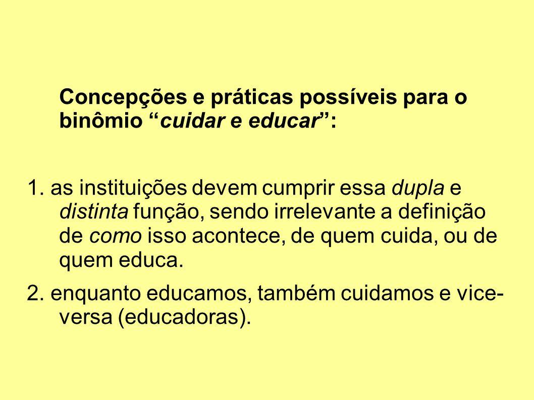 Concepções e práticas possíveis para o binômio cuidar e educar :