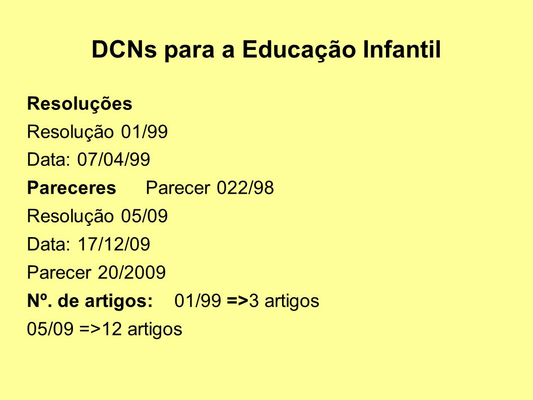 DCNs para a Educação Infantil