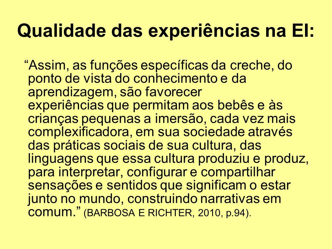 Qualidade das experiências na EI: