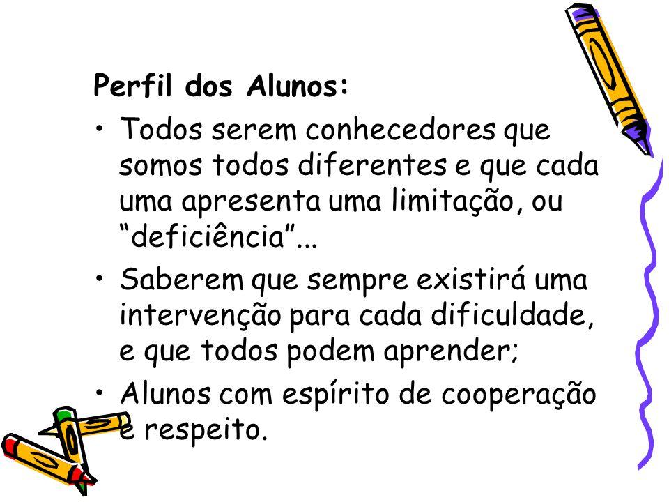 Perfil dos Alunos: Todos serem conhecedores que somos todos diferentes e que cada uma apresenta uma limitação, ou deficiência ...