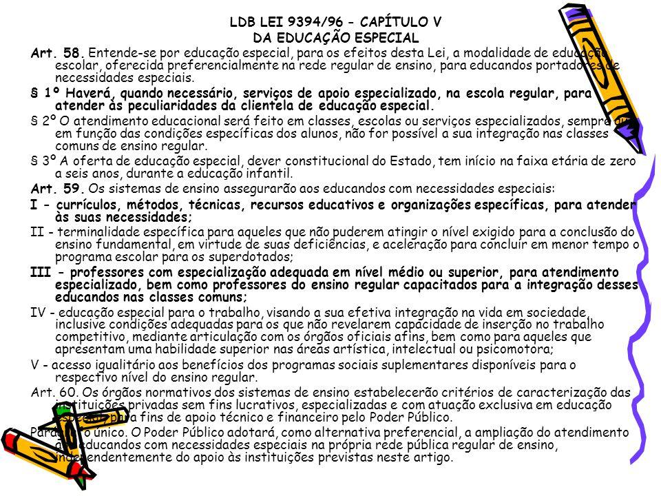 LDB LEI 9394/96 - CAPÍTULO V DA EDUCAÇÃO ESPECIAL.