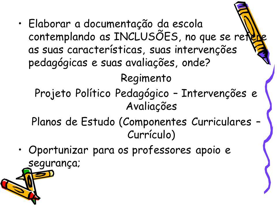 Projeto Político Pedagógico – Intervenções e Avaliações