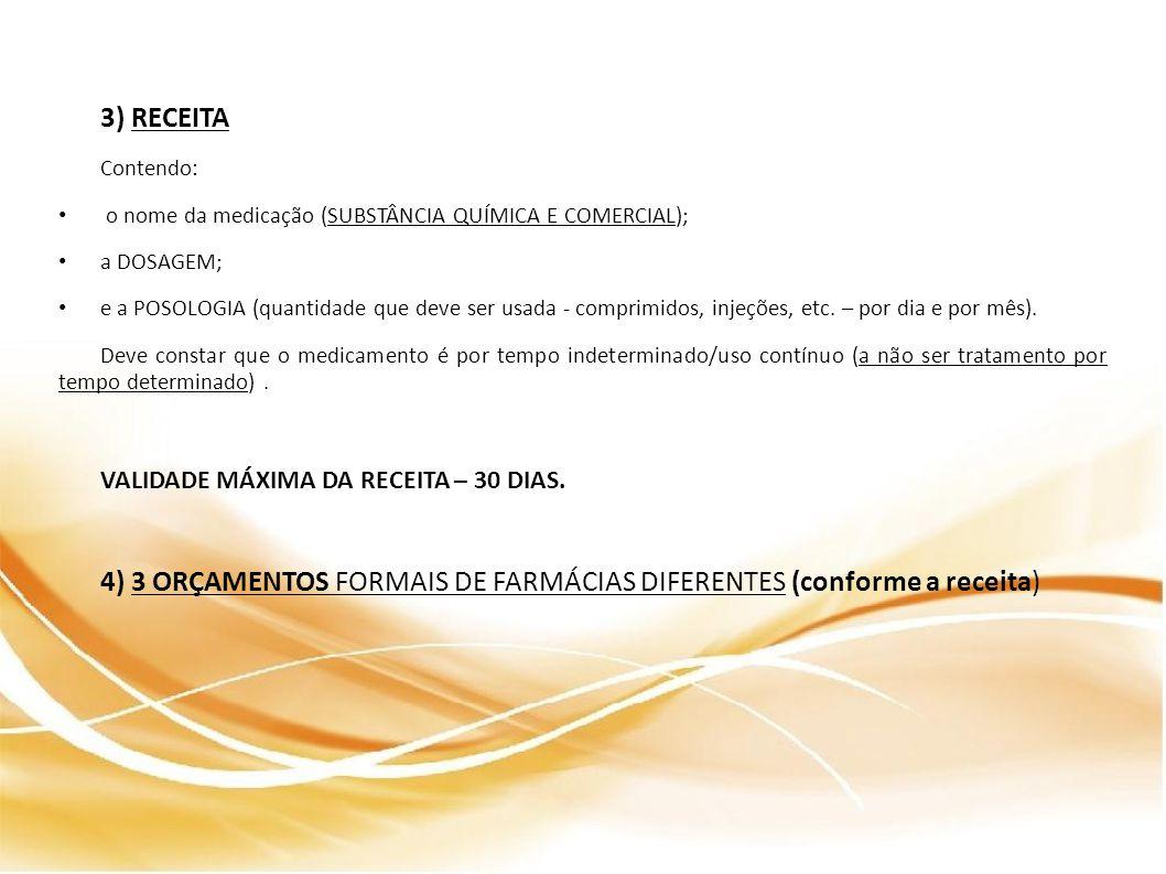 4) 3 ORÇAMENTOS FORMAIS DE FARMÁCIAS DIFERENTES (conforme a receita)