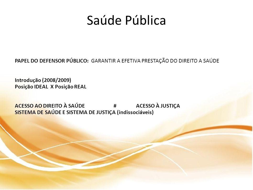 Saúde Pública PAPEL DO DEFENSOR PÚBLICO: GARANTIR A EFETIVA PRESTAÇÃO DO DIREITO A SAÚDE. Introdução (2008/2009)