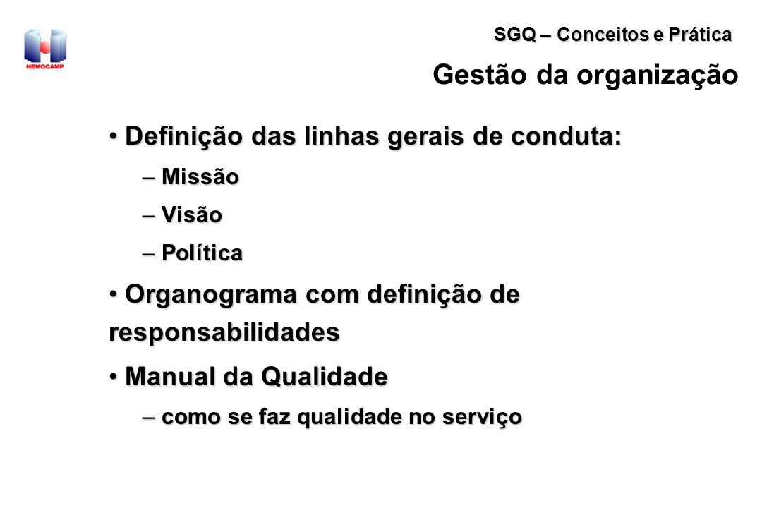 Gestão da organização Definição das linhas gerais de conduta: