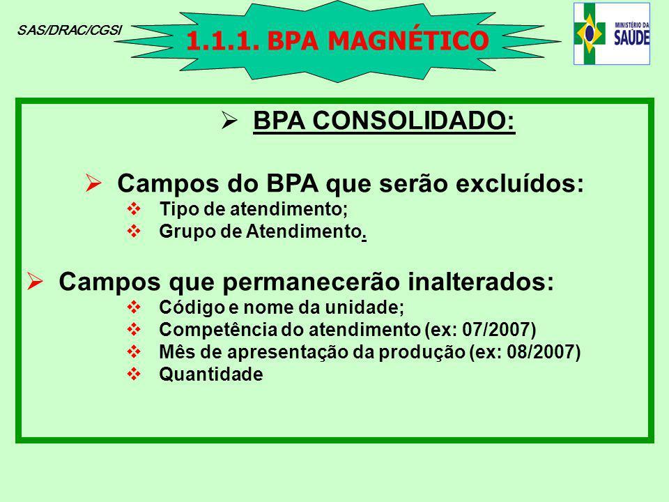 Campos do BPA que serão excluídos: