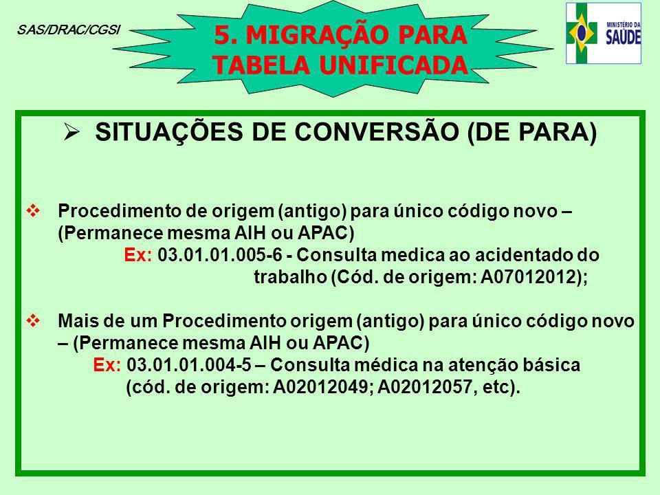 5. MIGRAÇÃO PARA TABELA UNIFICADA SITUAÇÕES DE CONVERSÃO (DE PARA)