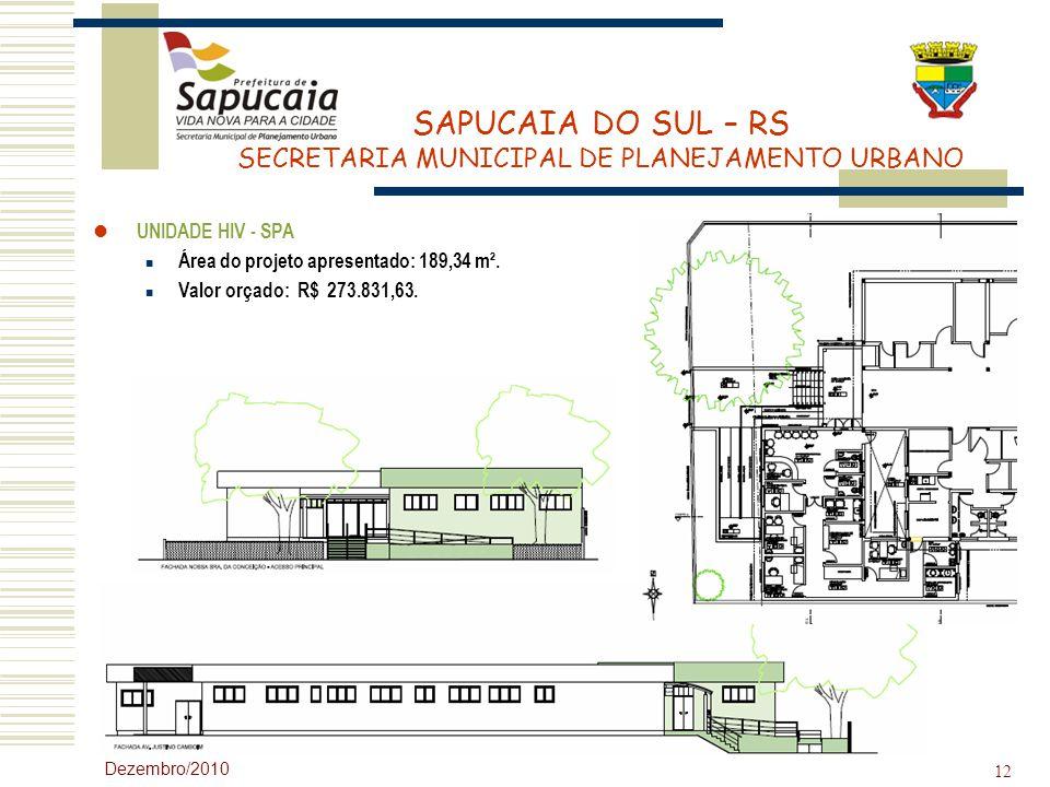 Área do projeto apresentado: 189,34 m². Valor orçado: R$ 273.831,63.