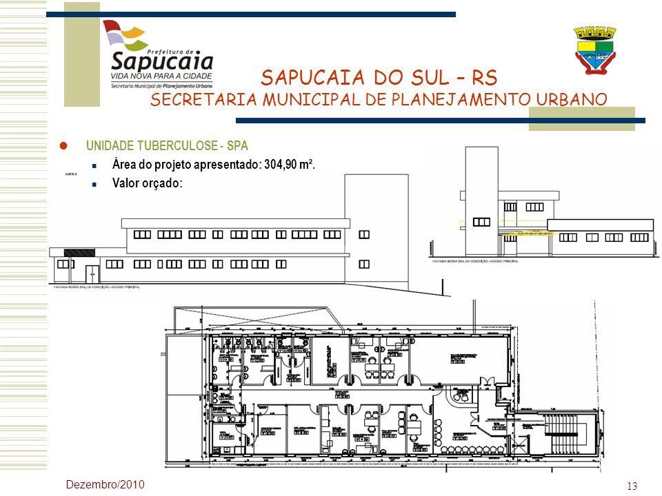 UNIDADE TUBERCULOSE - SPA Área do projeto apresentado: 304,90 m².
