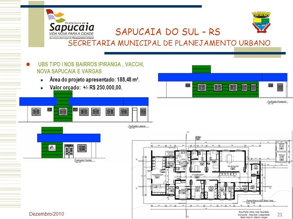 UBS TIPO I NOS BAIRROS IPIRANGA , VACCHI, NOVA SAPUCAIA E VARGAS