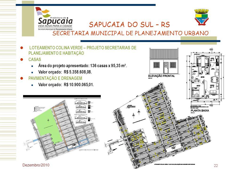 Área do projeto apresentado: 136 casas x 95,35 m².