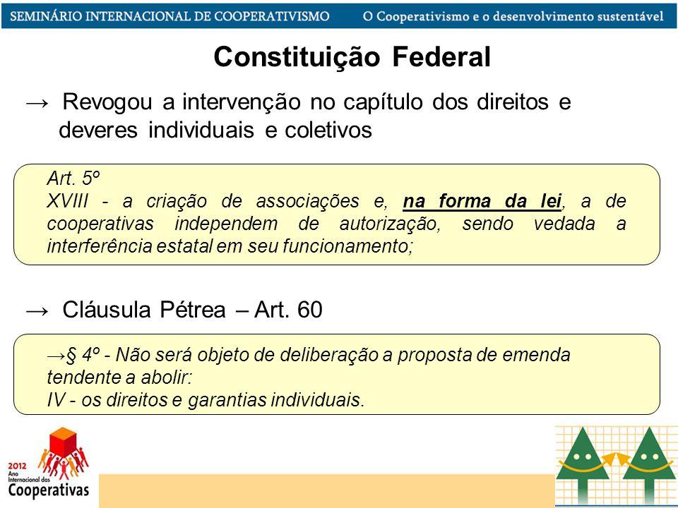 Constituição Federal Revogou a intervenção no capítulo dos direitos e