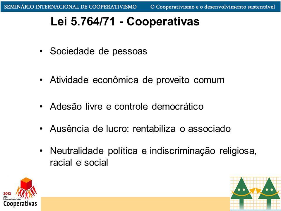 Lei 5.764/71 - Cooperativas Sociedade de pessoas