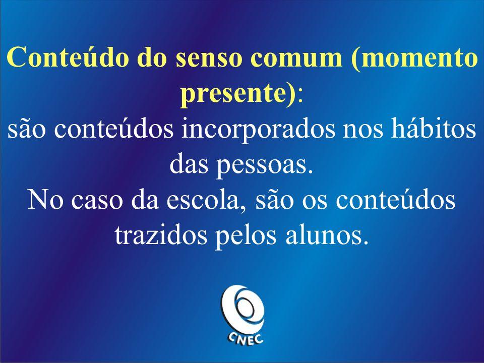 Conteúdo do senso comum (momento presente):