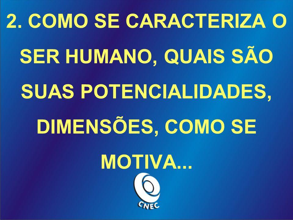 2. COMO SE CARACTERIZA O SER HUMANO, QUAIS SÃO SUAS POTENCIALIDADES, DIMENSÕES, COMO SE MOTIVA...