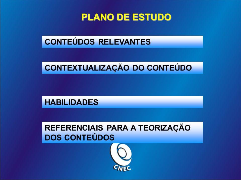 PLANO DE ESTUDO CONTEÚDOS RELEVANTES CONTEXTUALIZAÇÃO DO CONTEÚDO