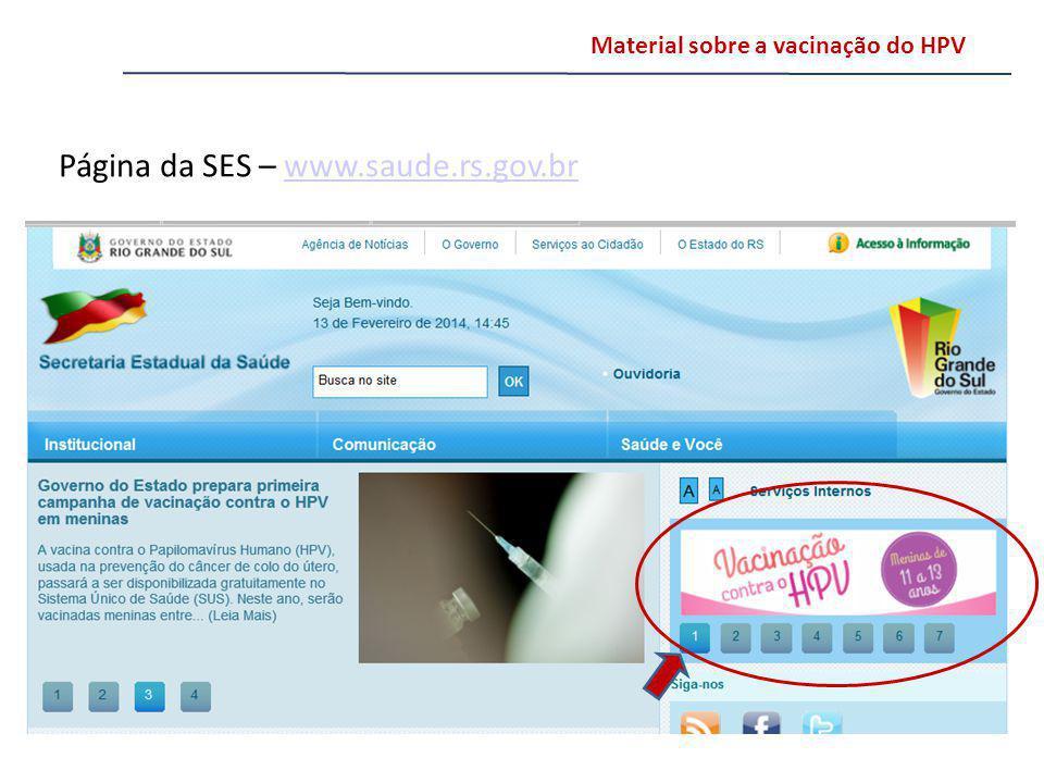 Página da SES – www.saude.rs.gov.br