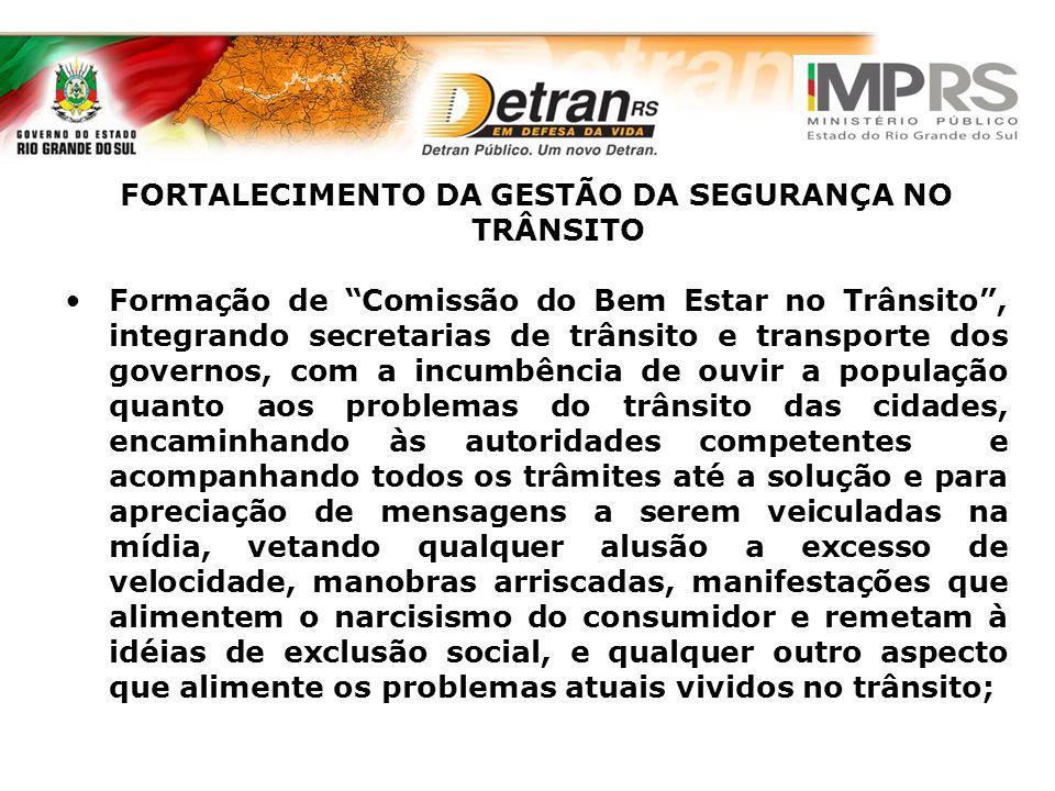 FORTALECIMENTO DA GESTÃO DA SEGURANÇA NO TRÂNSITO