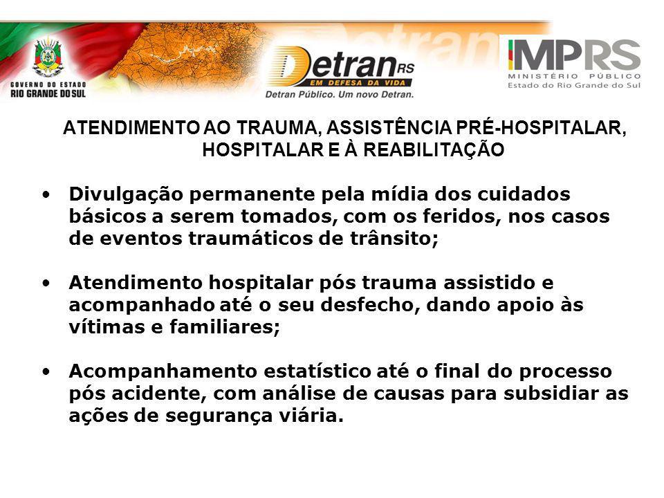 ATENDIMENTO AO TRAUMA, ASSISTÊNCIA PRÉ-HOSPITALAR, HOSPITALAR E À REABILITAÇÃO