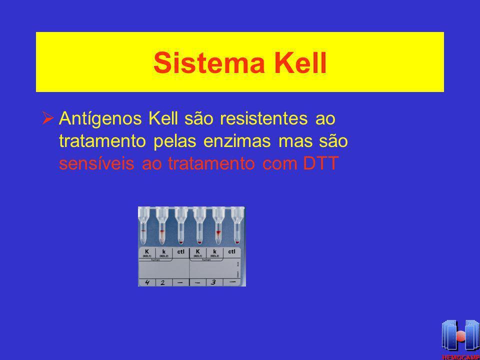 Sistema Kell Antígenos Kell são resistentes ao tratamento pelas enzimas mas são sensíveis ao tratamento com DTT.