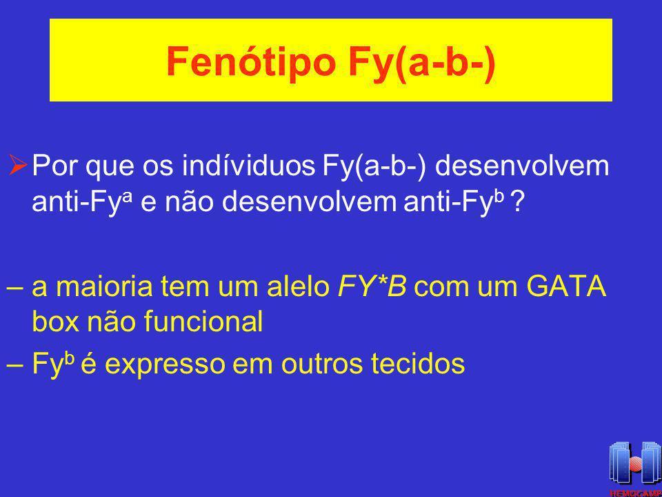 Fenótipo Fy(a-b-) Por que os indíviduos Fy(a-b-) desenvolvem anti-Fya e não desenvolvem anti-Fyb