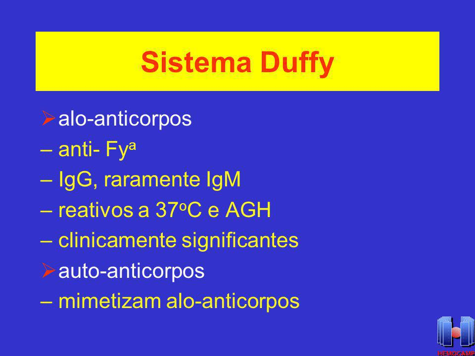 Sistema Duffy alo-anticorpos anti- Fya IgG, raramente IgM