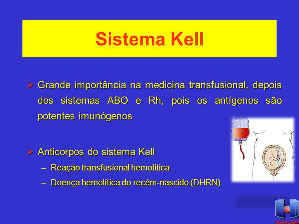 Sistema Kell Grande importância na medicina transfusional, depois dos sistemas ABO e Rh, pois os antígenos são potentes imunógenos.