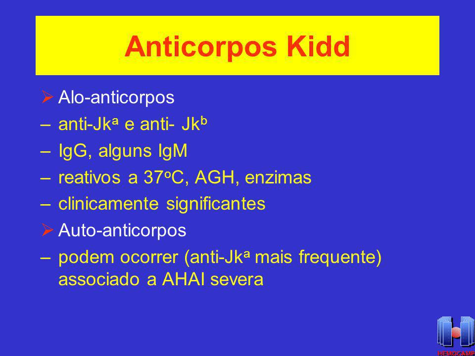 Anticorpos Kidd Alo-anticorpos anti-Jka e anti- Jkb IgG, alguns IgM