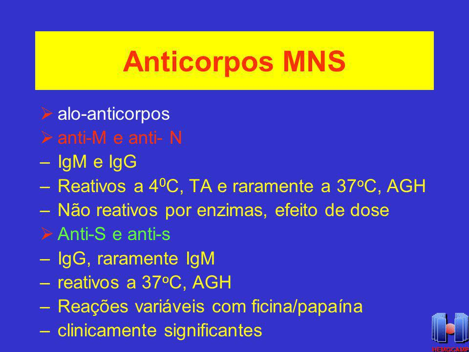 Anticorpos MNS alo-anticorpos anti-M e anti- N IgM e IgG