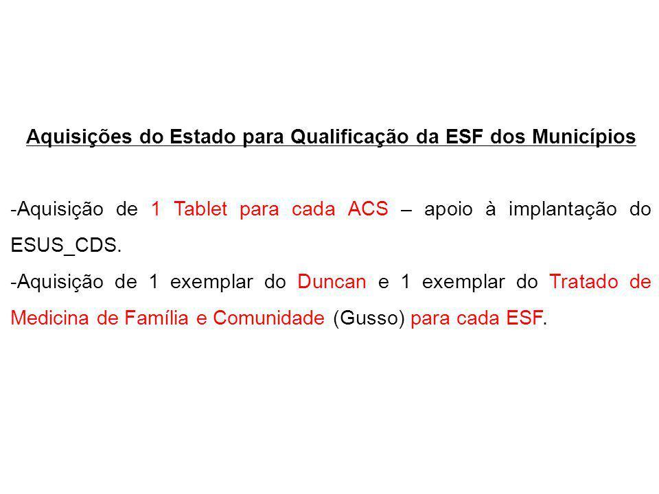 Aquisições do Estado para Qualificação da ESF dos Municípios
