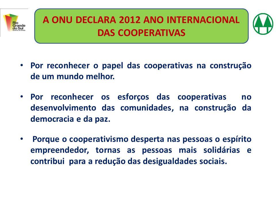 A ONU DECLARA 2012 ANO INTERNACIONAL DAS COOPERATIVAS