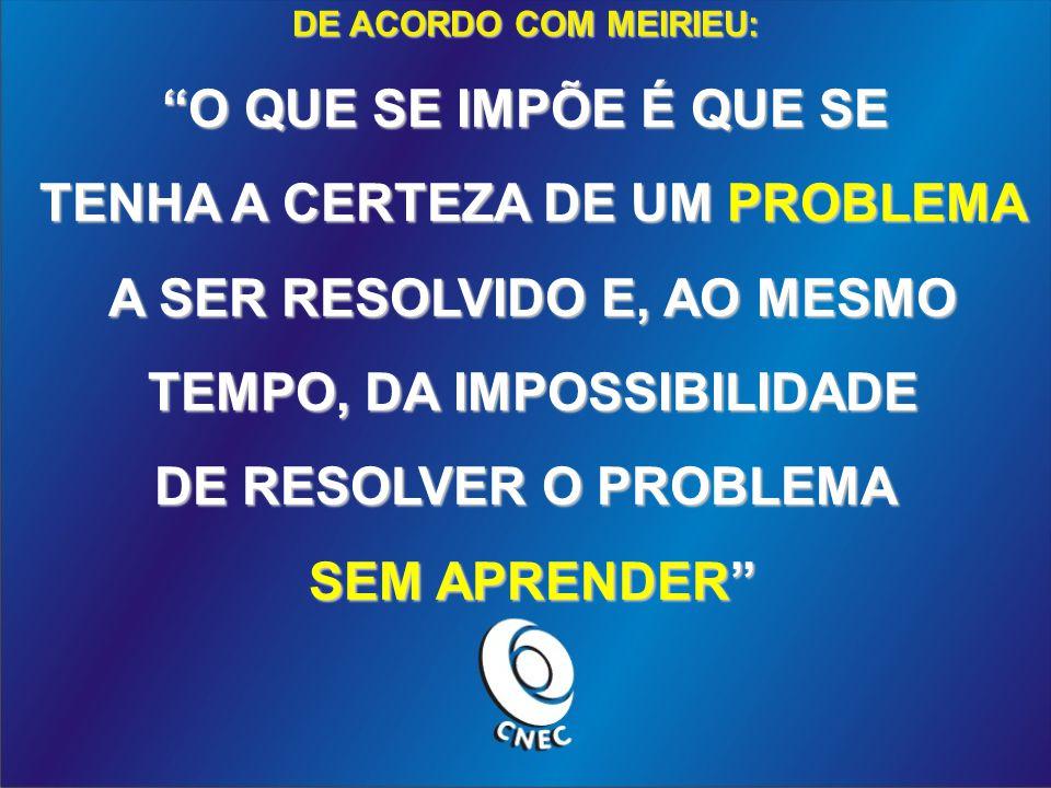 TENHA A CERTEZA DE UM PROBLEMA A SER RESOLVIDO E, AO MESMO