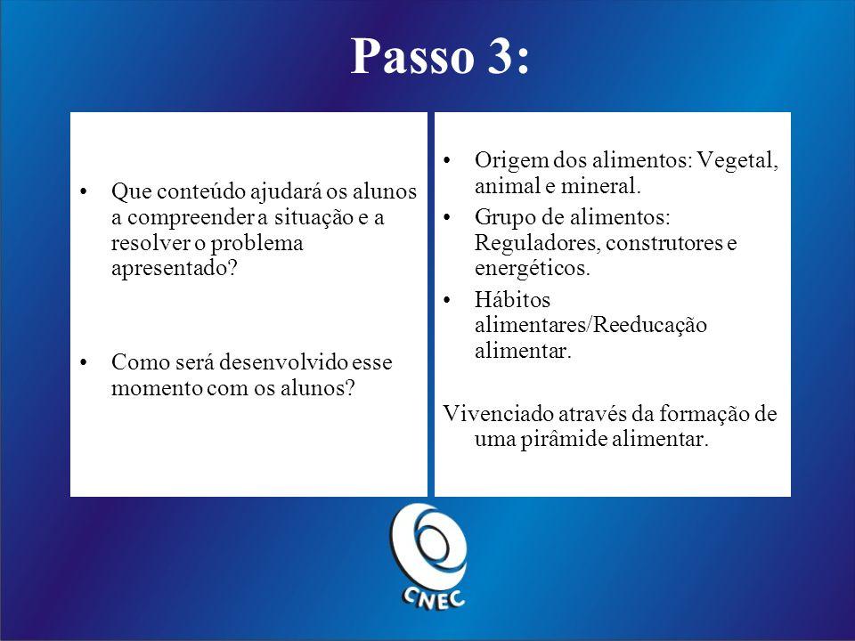 Passo 3: Origem dos alimentos: Vegetal, animal e mineral.