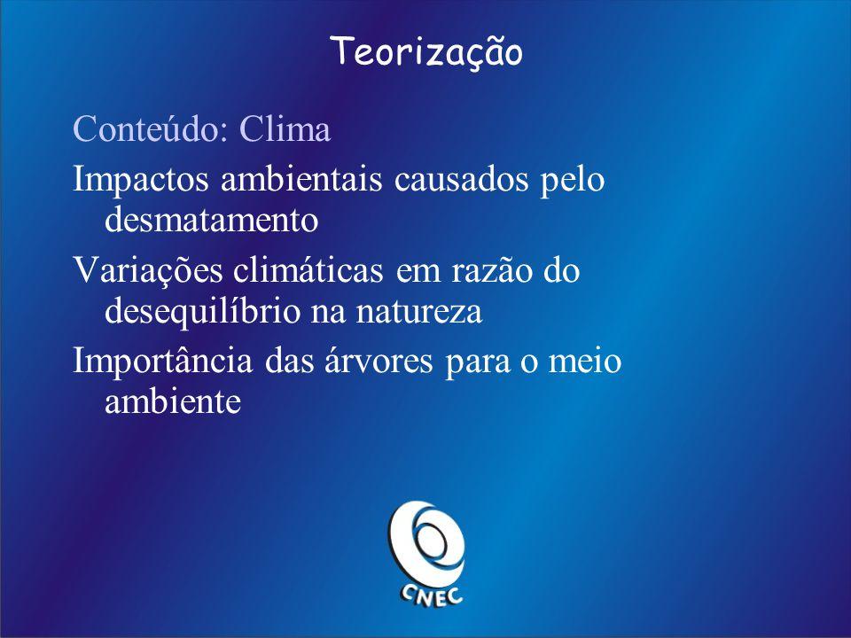 Teorização Conteúdo: Clima. Impactos ambientais causados pelo desmatamento. Variações climáticas em razão do desequilíbrio na natureza.