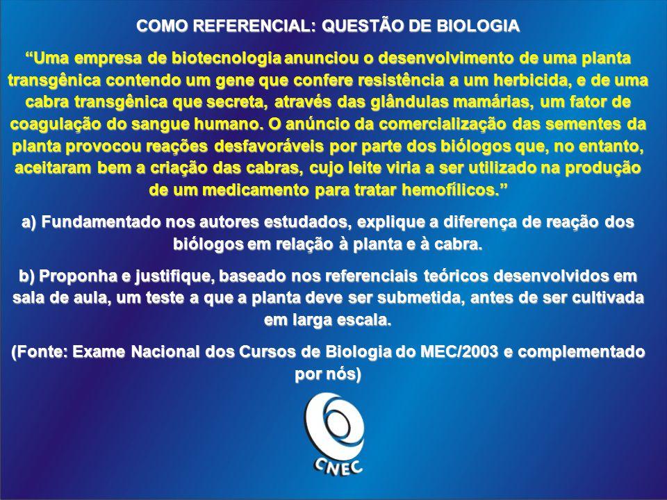 COMO REFERENCIAL: QUESTÃO DE BIOLOGIA