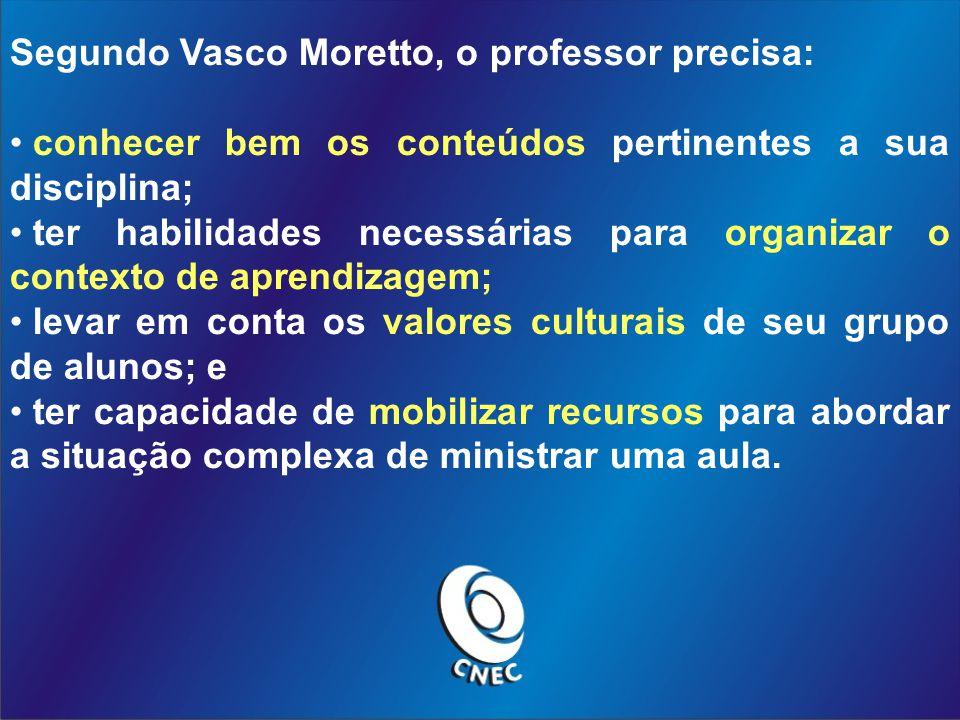 Segundo Vasco Moretto, o professor precisa:
