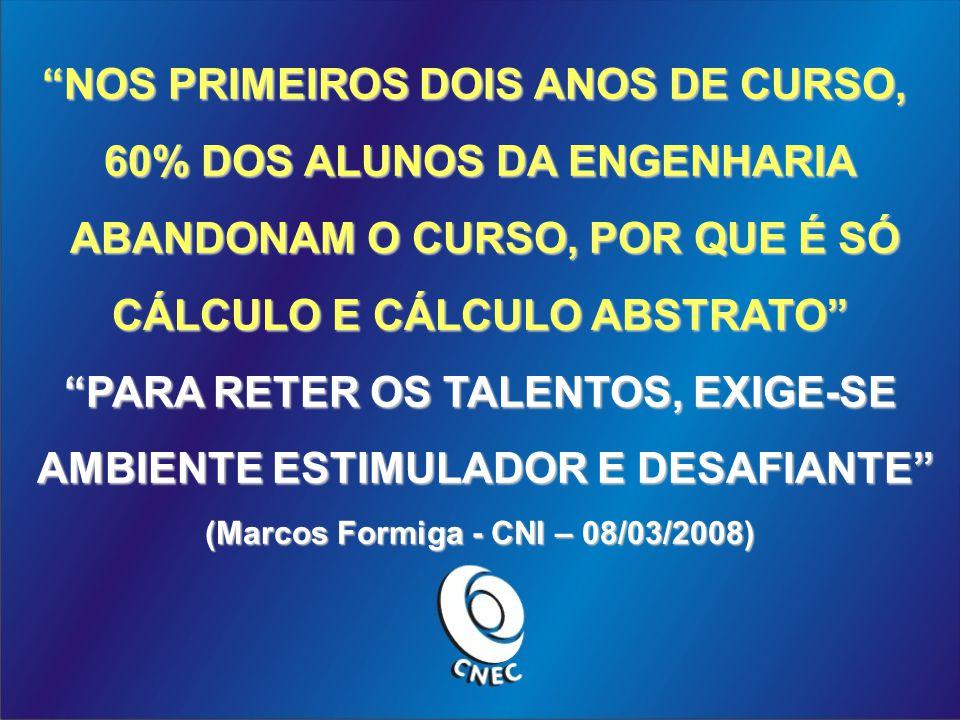 NOS PRIMEIROS DOIS ANOS DE CURSO, 60% DOS ALUNOS DA ENGENHARIA