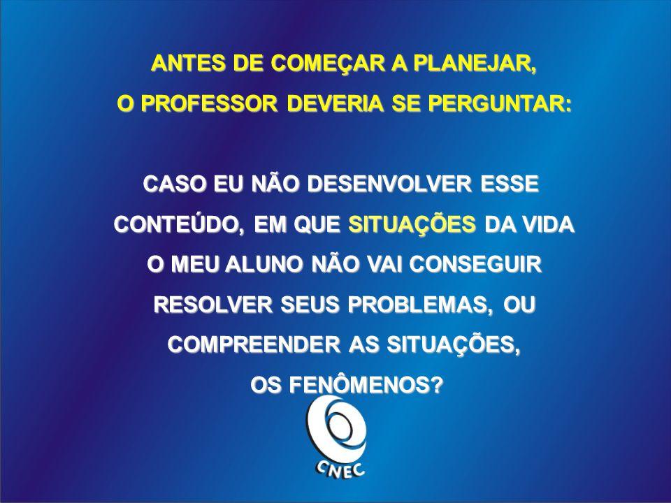 ANTES DE COMEÇAR A PLANEJAR, O PROFESSOR DEVERIA SE PERGUNTAR: