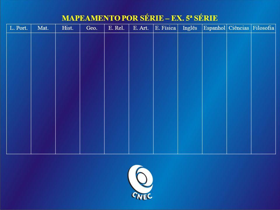 MAPEAMENTO POR SÉRIE – EX. 5ª SÉRIE