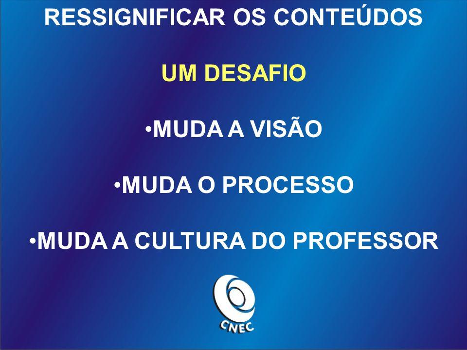 RESSIGNIFICAR OS CONTEÚDOS MUDA A CULTURA DO PROFESSOR