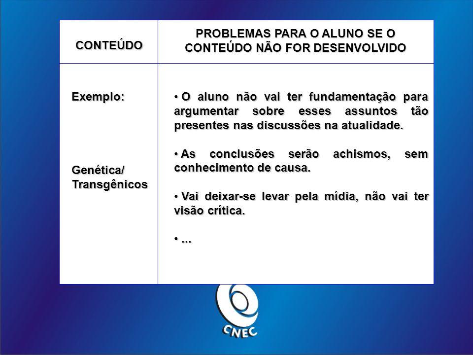 PROBLEMAS PARA O ALUNO SE O CONTEÚDO NÃO FOR DESENVOLVIDO